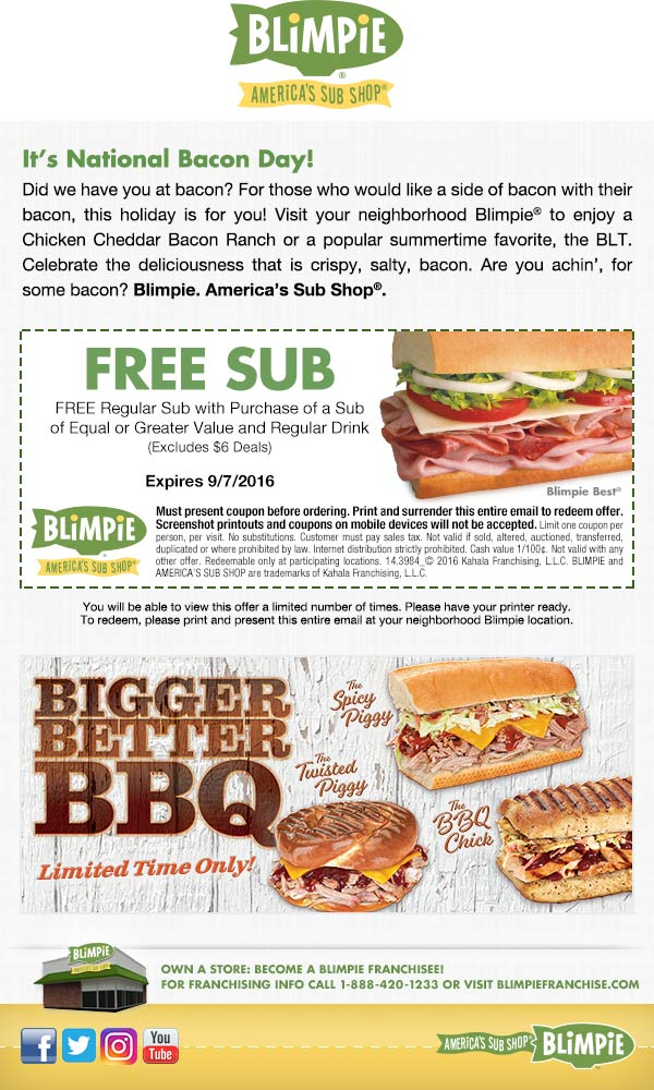 Blimpie Coupon February 2018 Second sandwich free at Blimpie sub shops
