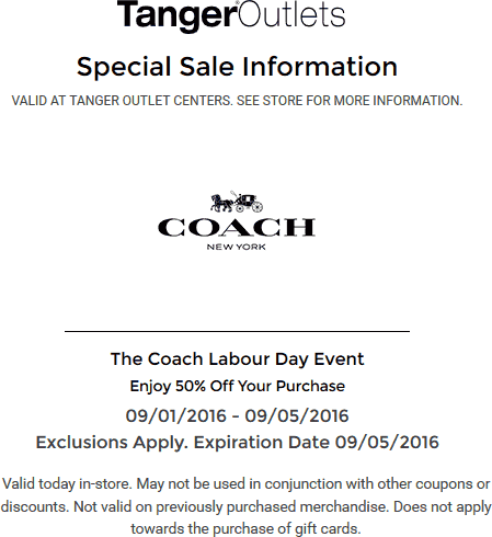 Coach.com Promo Coupon 50% off at Tanger Outlet Coach stores