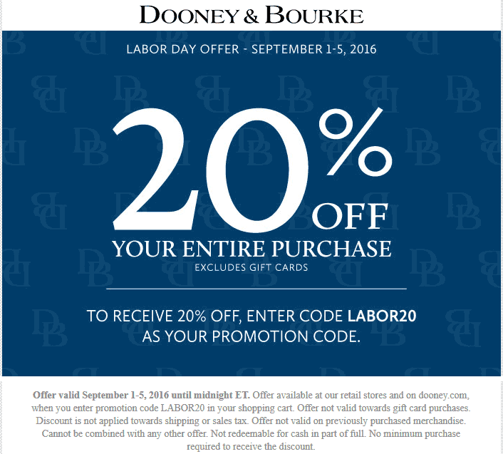 Dooney & Bourke Coupon December 2016 20% off at Dooney & Bourke, or online via promo code LABOR20
