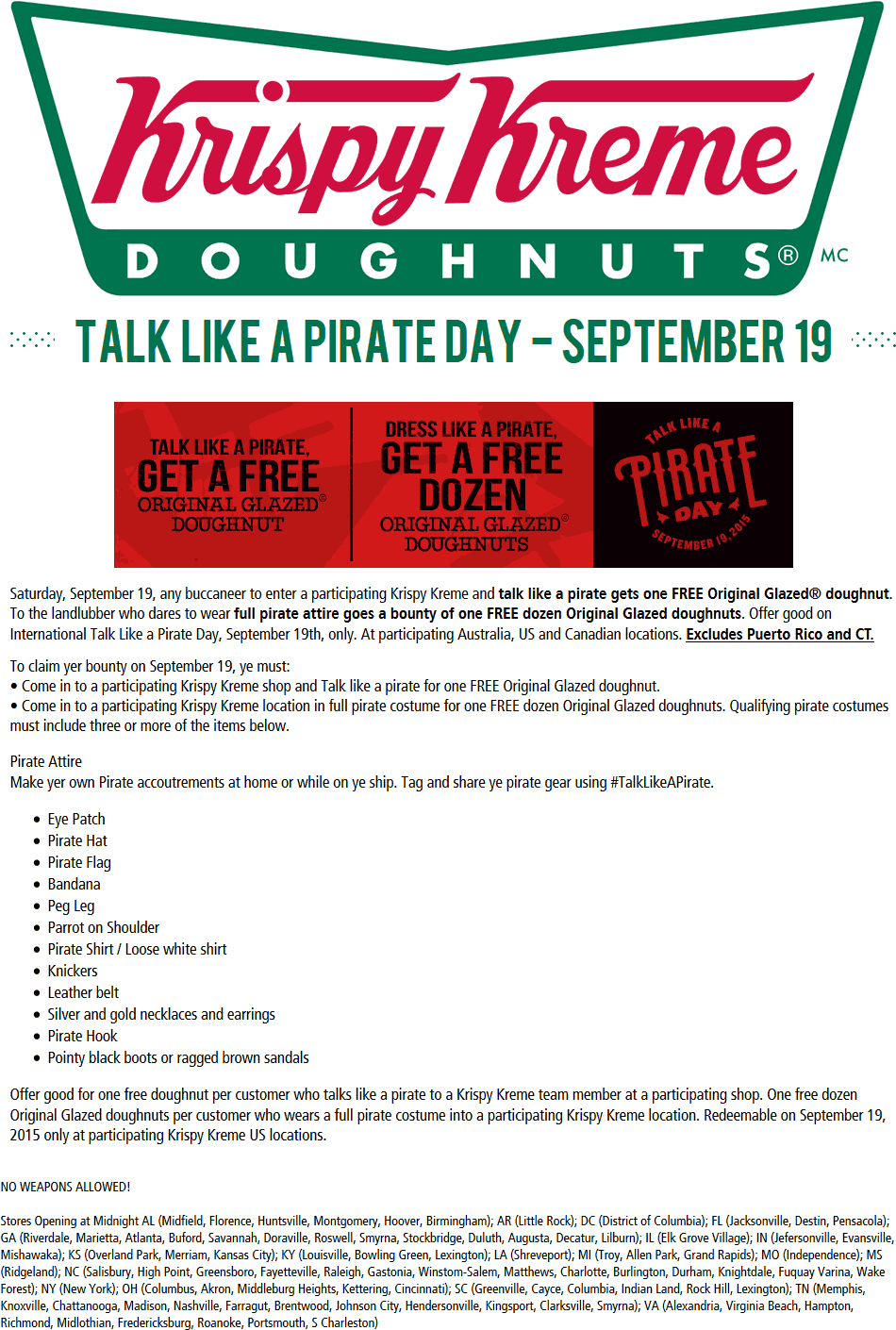 Krispy Kreme Coupon June 2017 Free dozen doughnuts for pirates the 19th at Krispy Kreme