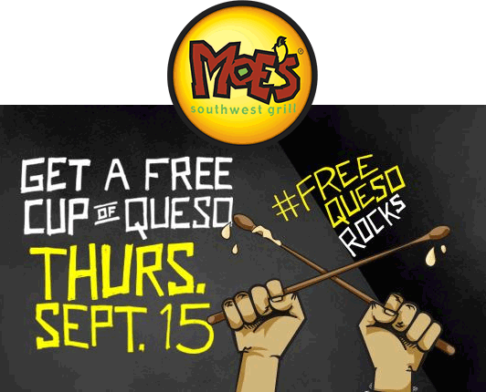 Moes Southwest Grill Coupon March 2018 Free cup of queso the 15th at Moes Southwest Grill