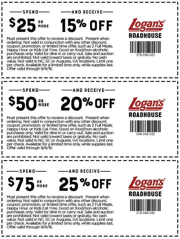 Logans Roadhouse Coupon October 2017 15-25% off $25+ at Logans Roadhouse restaurants