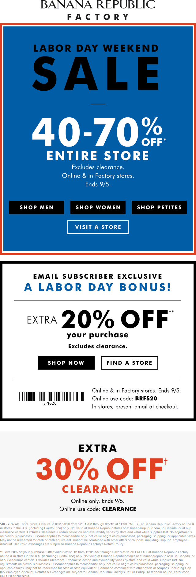 Banana Republic Coupon October 2016 Extra 40-70% off everything at Banana Republic Factory, ditto online