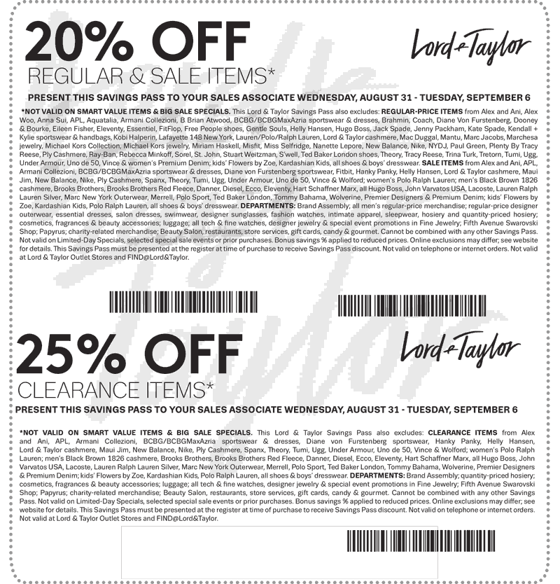 Lord & Taylor Coupon December 2016 20-25% off at Lord & Taylor, or online via promo code BONUS