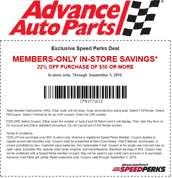 AdvanceAutoParts.com Promo Coupon 22% off $50 today at Advance Auto Parts, or online via promo code  SPLABOR16