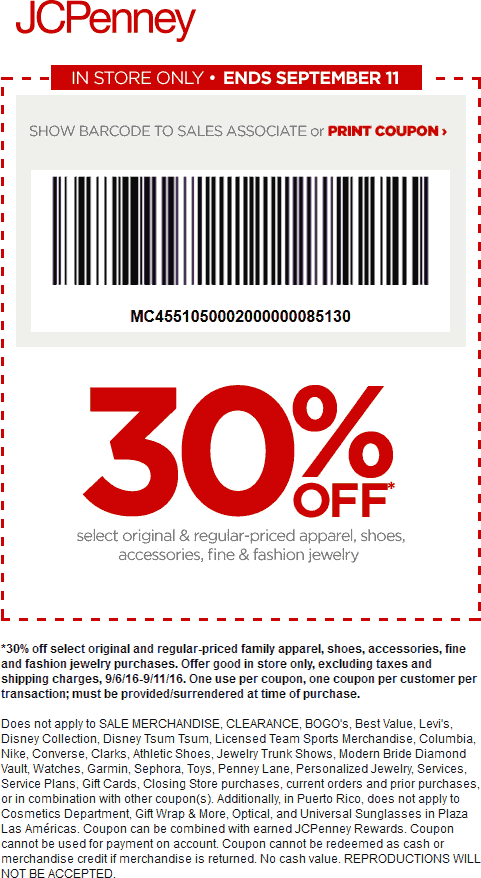 JCPenney Coupon August 2017 30% off at JCPenney