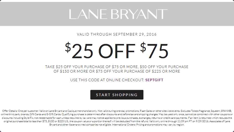 LaneBryant.com Promo Coupon $25 off $75 at Lane Bryant, or online via promo code SEPTGIFT
