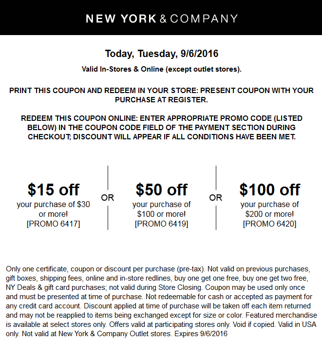 New York & Company Coupon October 2018 $15 off $30 & more today at New York & Company, or online via promo code 6417