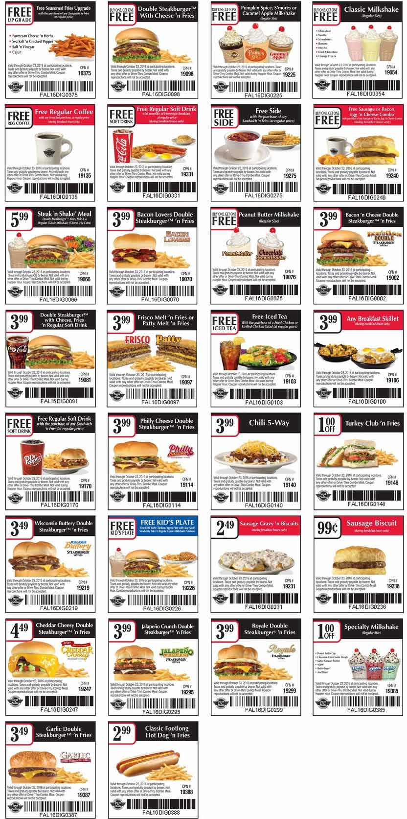 Steak n Shake Coupon March 2017 Second steakburger meal free & more at Steak N Shake