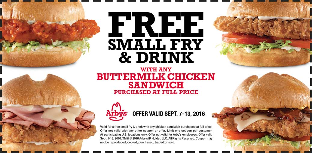 Arbys Coupon August 2017 Free fries & drink with your chicken sandwich at Arbys