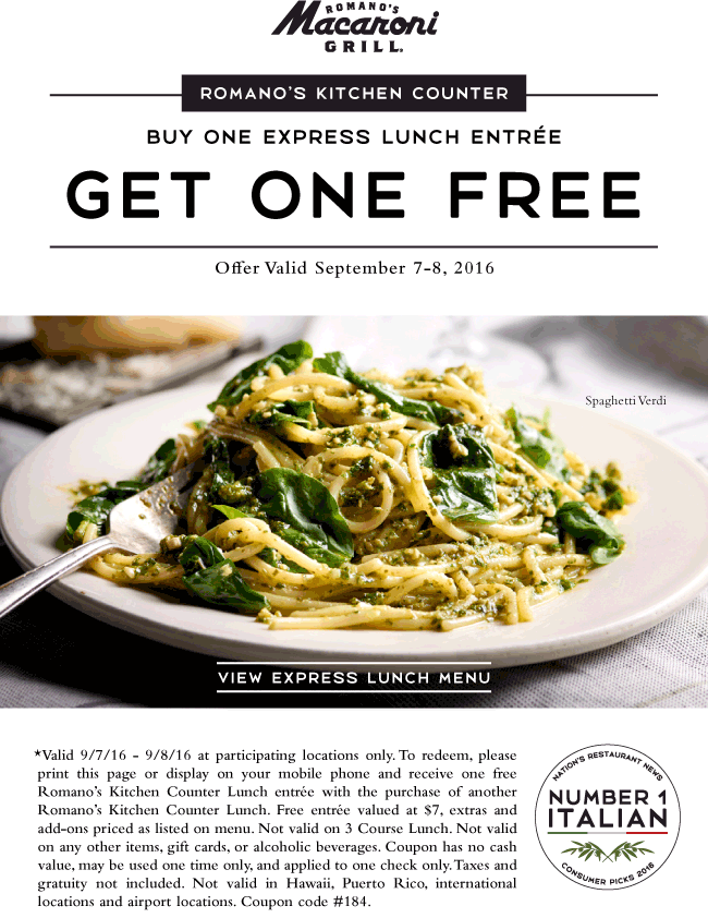 Macaroni Grill Coupon September 2017 Second lunch free at Macaroni Grill