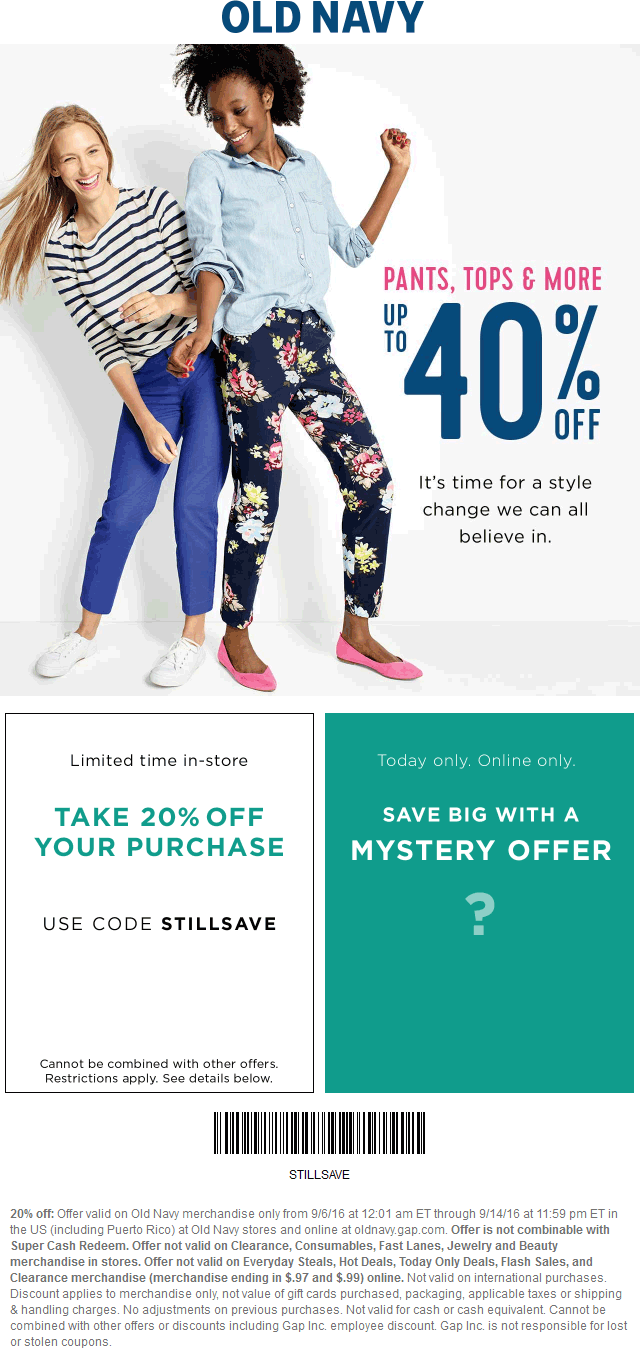 Old Navy Coupon March 2017 20% off at Old Navy, or online via promo code STILLSAVE