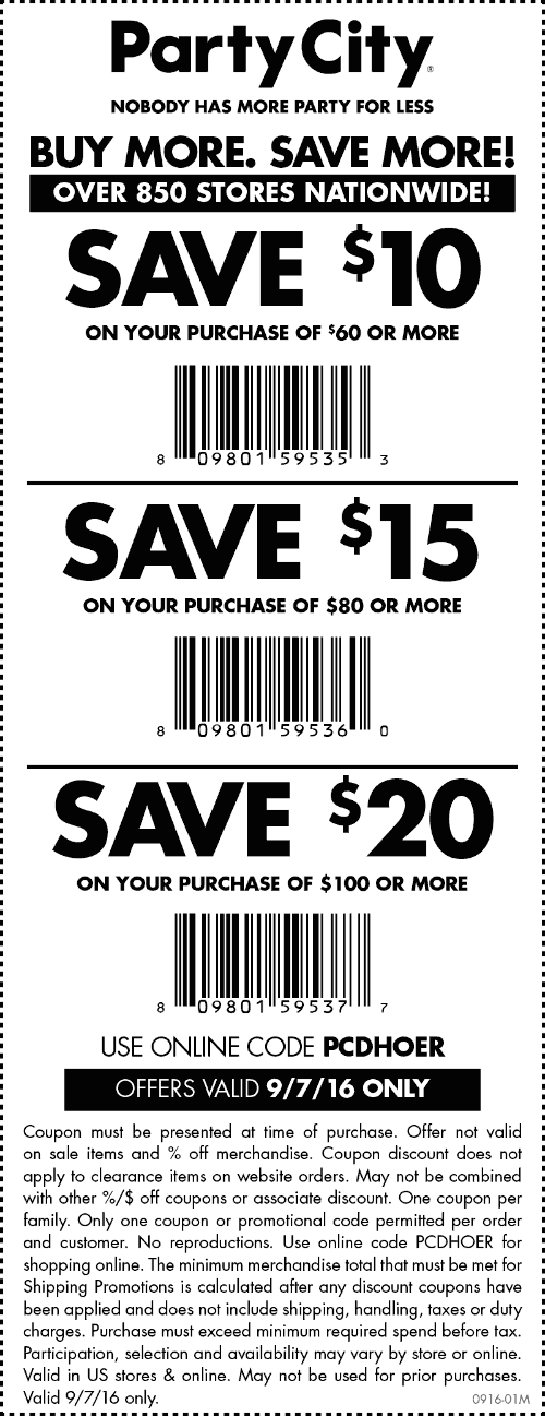 Party City Coupon October 2016 $10 off $60 & more today at Party City, or online via promo code PCDHOER