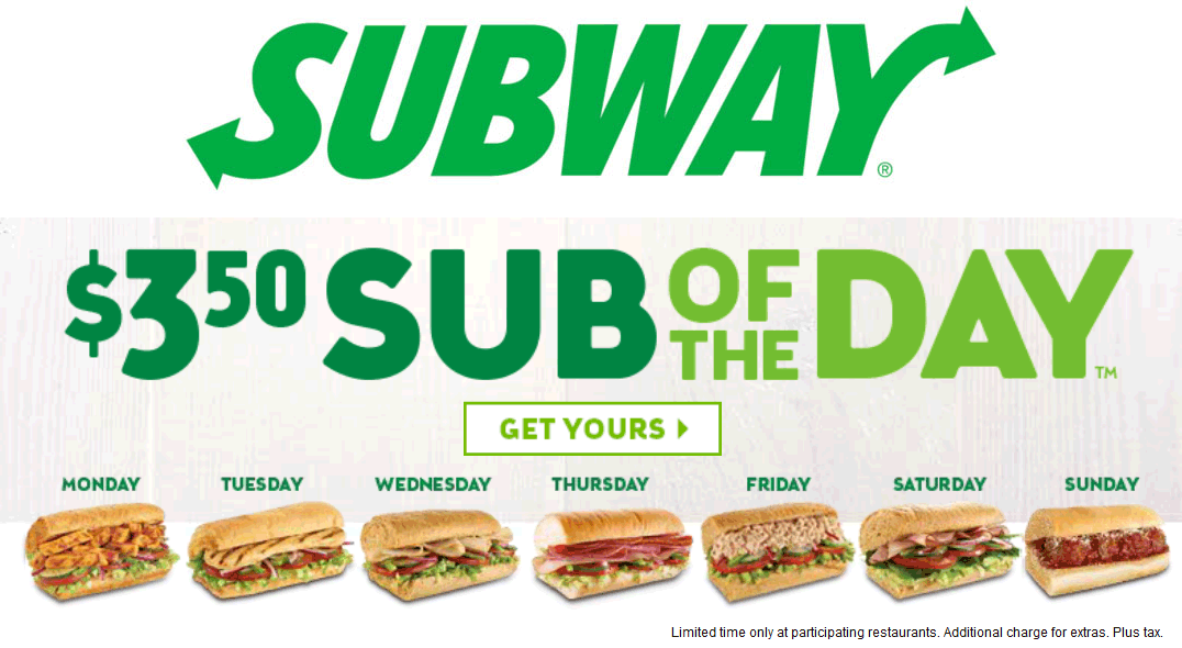 Subway.com Promo Coupon $3.50 sub of the day going on at Subway