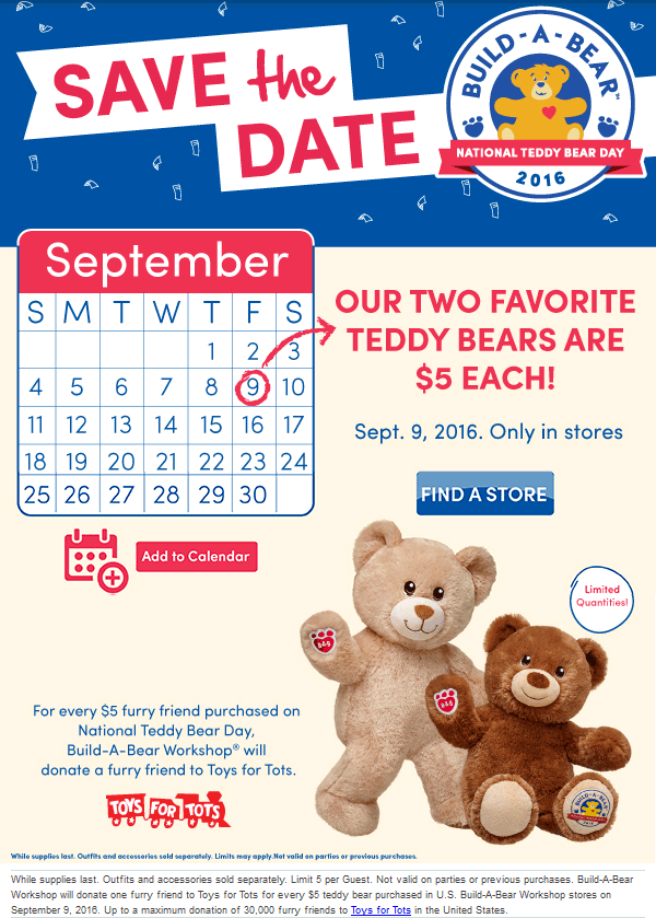 Build-A-Bear Coupon July 2017 $5 bears Friday at Build-A-Bear workshops