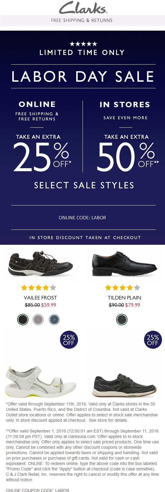 Clarks Coupon March 2017 Extra 50% off at Clarks, or 25% online via promo code LABOR