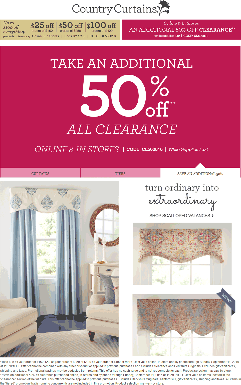 Country Curtains Coupon February 2017 $25 off $150 & more + extra 50% off clearance at Country Curtains, or online via promo code CL500816