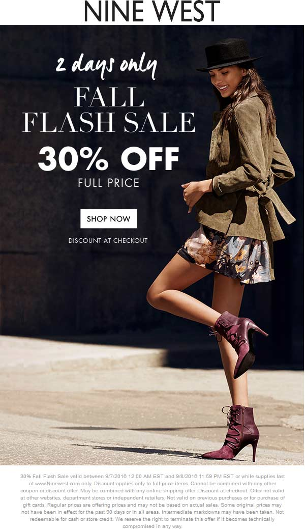 Nine West Coupon September 2017 30% off online today at Nine West