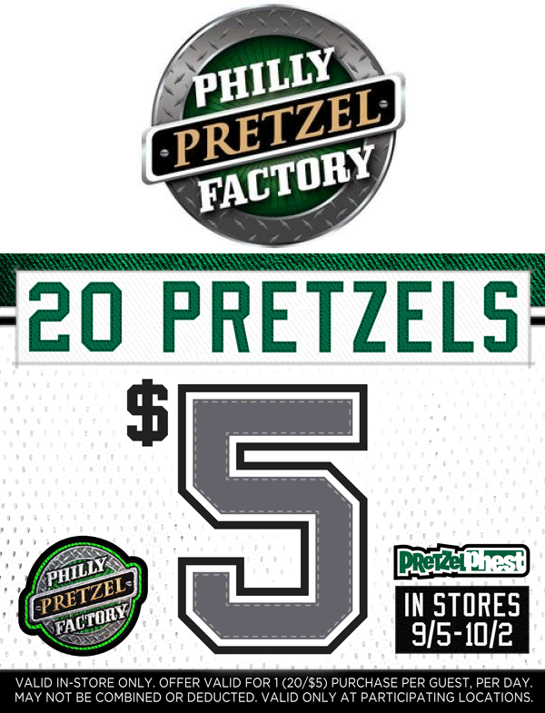 Philly Pretzel Factory Coupon November 2017 20 pretzels for $5 at Philly Pretzel Factory