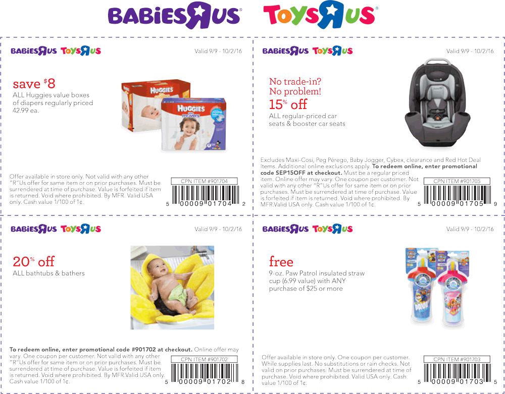 Babies R Us Coupon March 2018 $8 off diapers & more at Babies R Us & Toys R Us