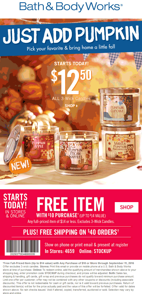 Bath & Body Works Coupon May 2017 $14 item free with $10 spent at Bath & Body Works, or online via promo code STOCKUP