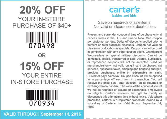 Carters Coupon January 2017 15-20% off at Carters, or online via promo code CART3282