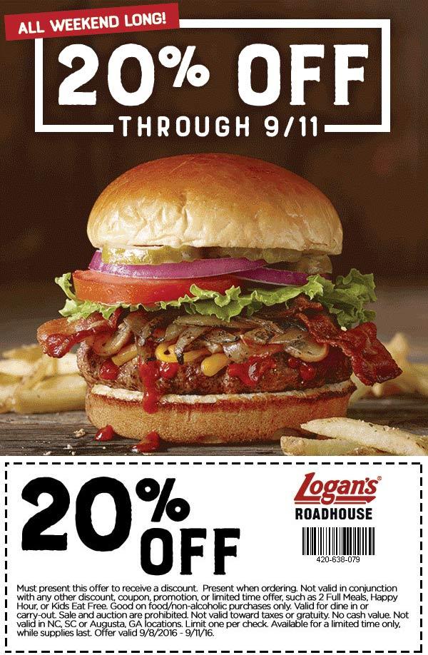 Logans Roadhouse Coupon April 2017 20% off at Logans Roadhouse restaurants