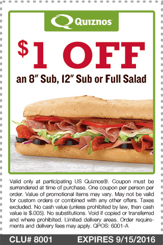 Quiznos Coupon May 2018 Shave a buck off your sub from Quiznos