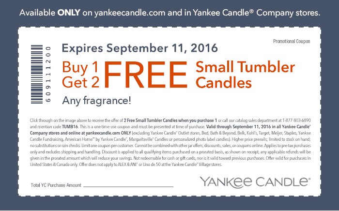 Yankee Candle Coupon March 2017 3-for-1 small candles at Yankee Candle, or online via promo code TUMB16