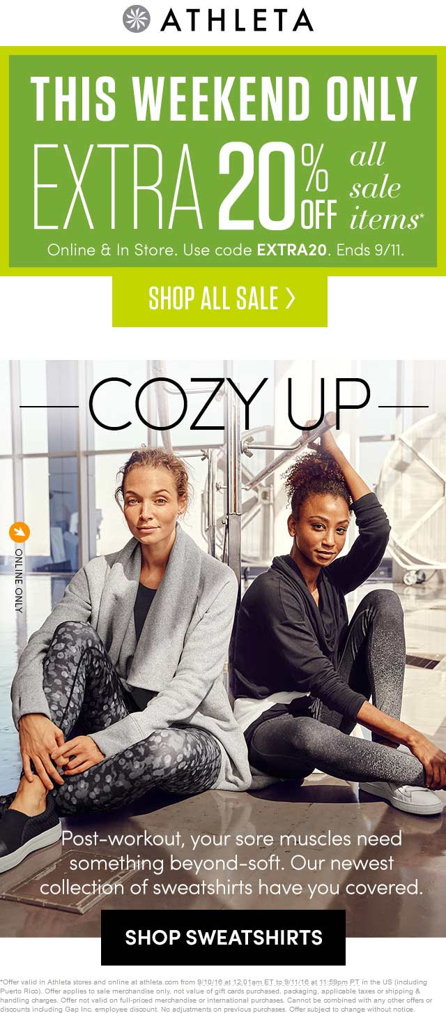 Athleta.com Promo Coupon Extra 20% off sale items at Athleta, or online via promo code EXTRA20