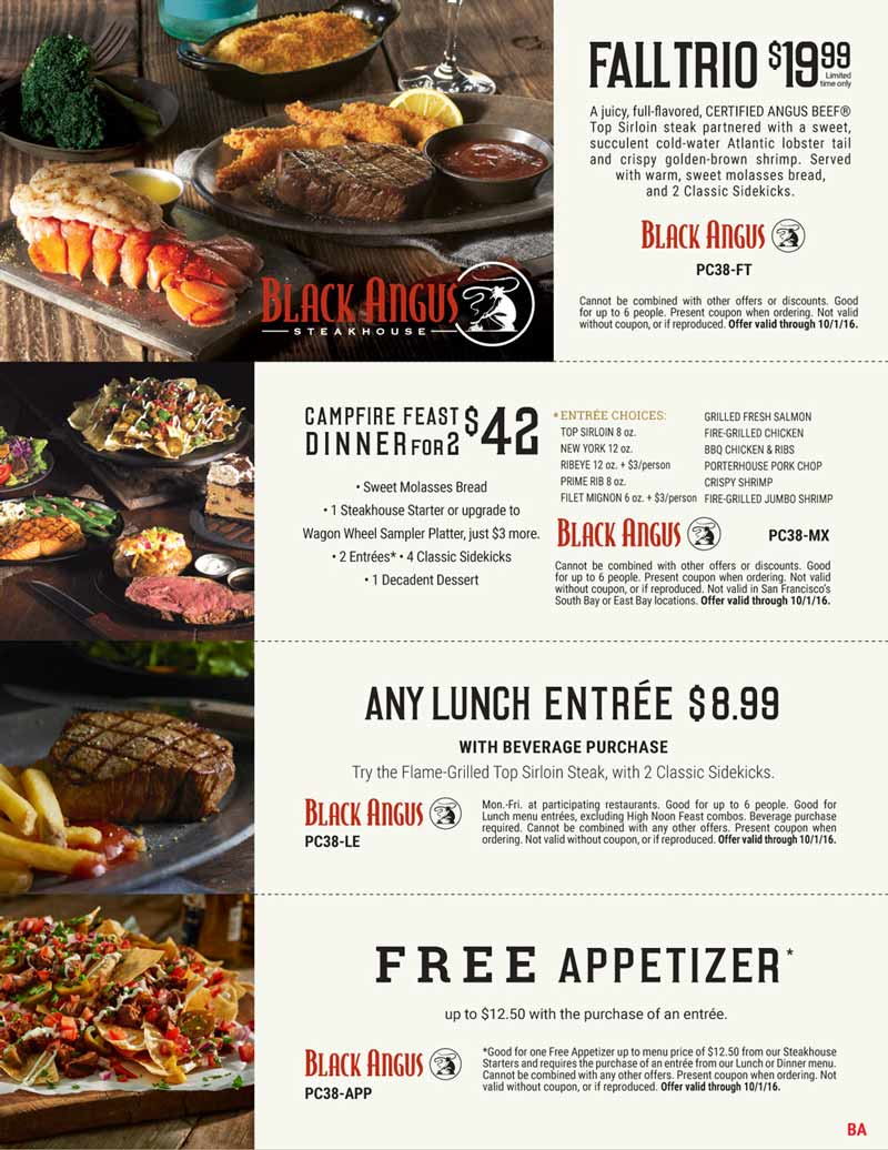 Black Angus Coupon February 2018 Free appetizer with your entree & more at Black Angus steakhouse