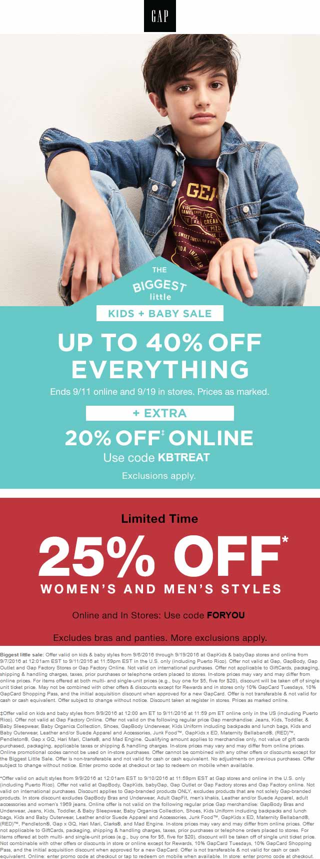 Gap Coupon November 2017 25% off adult, 40% off kids at Gap, or online via promo code FORYOU