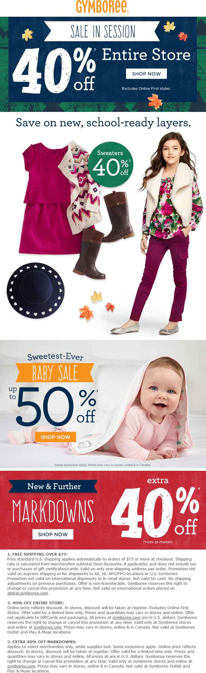 Gymboree Coupon January 2017 40% off everything at Gymboree, ditto online