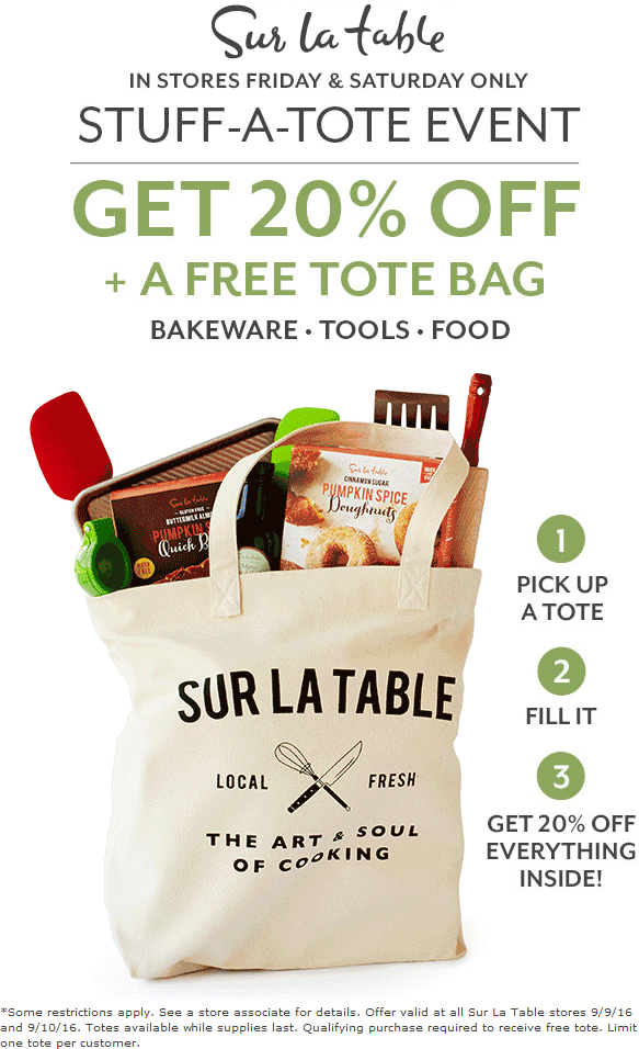 Sur La Table Coupon January 2017 20% whatever fits in a free tote today at Sur la Table