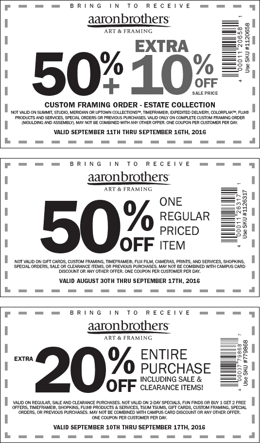 AaronBrothers.com Promo Coupon 60% off framing & more at Aaron Brothers