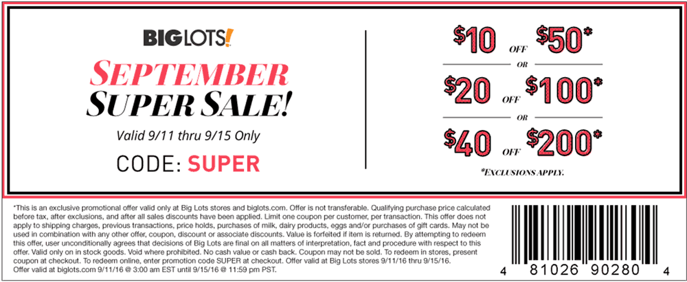 Big Lots Coupon September 2017 $10 off $50 & more at Big Lots, or online via promo code SUPER