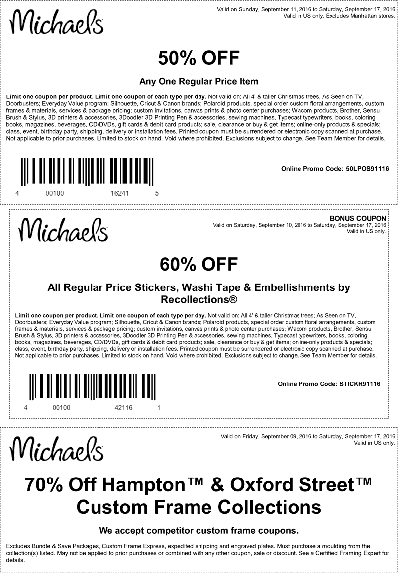 Michaels Coupon February 2018 50% off a single item at Michaels, or online via promo code 50LPOS91116