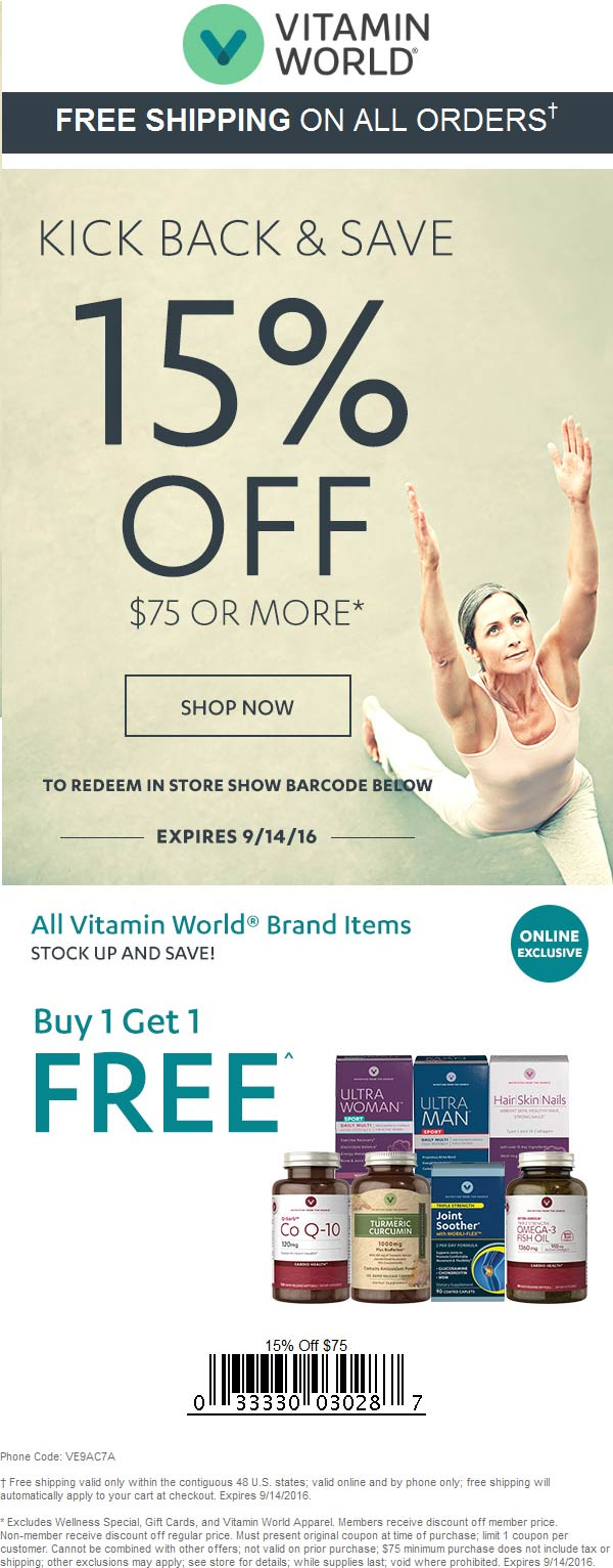 Vitamin World Coupon April 2018 15% off $75 at Vitamin World, or online via promo code VE9AC7A