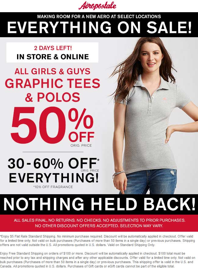 Aeropostale.com Promo Coupon 30-60% off everything at Aeropostale, ditto online