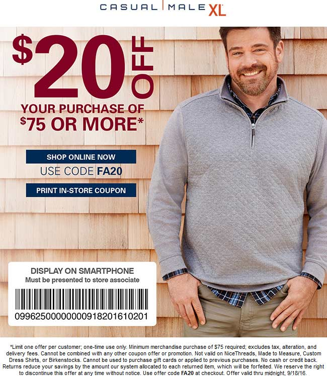 CasualMaleXL.com Promo Coupon $20 off $75 at Casual Male XL, or online via promo code FA20