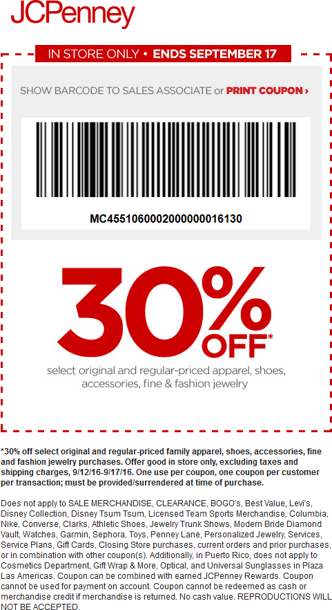 JCPenney Coupon May 2017 30% off at JCPenney