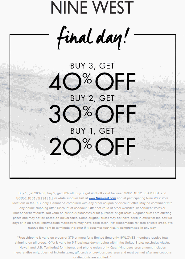 Nine West Coupon February 2019 20-40% off today at Nine West, ditto online