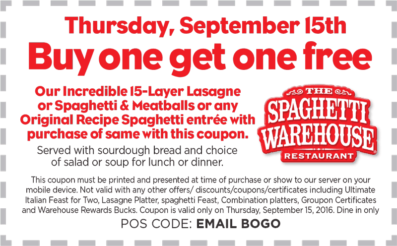 Spaghetti Warehouse Coupon April 2017 Second lasagna or spaghetti entree free Thursday at Spaghetti Warehouse