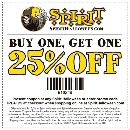Spirit Halloween Coupon January 2017 Second item 25% off at Spirit Halloween, or online via promo code TREAT25