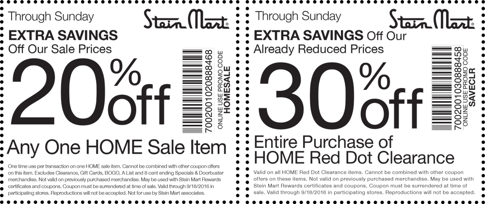 SteinMart.com Promo Coupon 20% off a single sale item & more at Stein Mart, or online via promo code HOMESALE