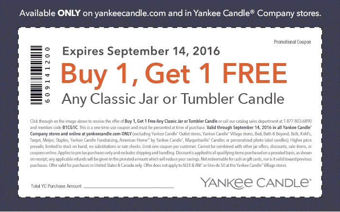 Yankee Candle Coupon December 2016 Second candle free at Yankee Candle, or online via promo code B1CG1C