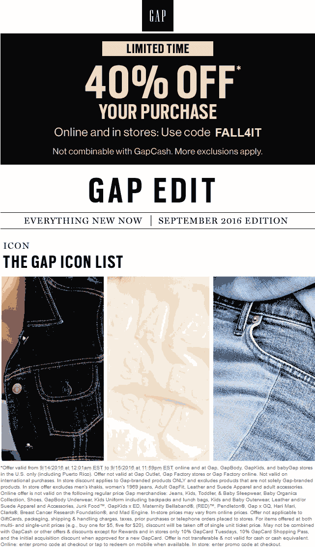 Gap Coupon November 2017 40% off at Gap, or online via promo code FALL4IT