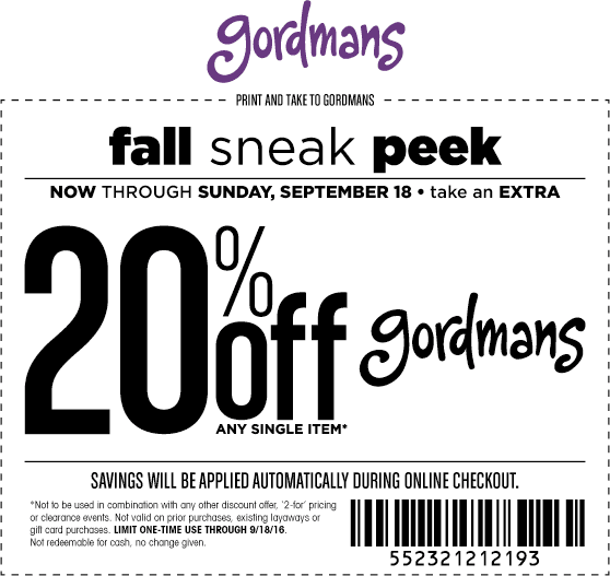 Gordmans.com Promo Coupon 20% off a single item at Gordmans