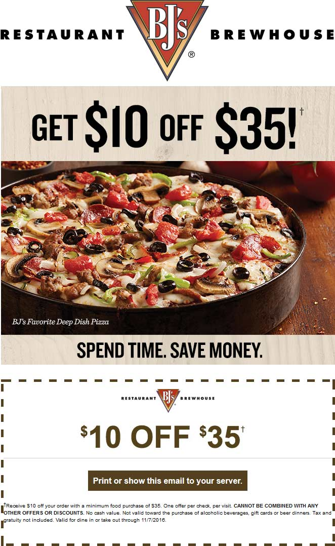 BJs Restaurant Coupon November 2017 $10 off $35 at BJs Restaurant brewhouse