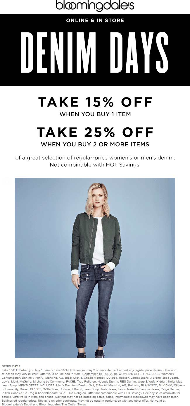 Bloomingdales Coupon September 2017 15-25% off denim at Bloomingdales, ditto online